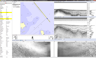 Seismic and marine                   geophysical data acquisition software display showing                   seismic reflection, sub-bottom profiling and side scan                   sonar data
