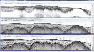 Sub-bottom profiles obtained using multiple                 frequencies between 1 and 50 kHz