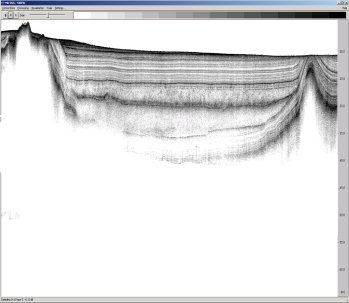 A very high resolution pinger                 sub-bottom profile portraying sediment layer structures