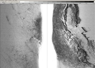Side scan sonar sonogram with high               resolution seafloor image